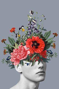Zelfportret met bloemen 5 (blauwgrijs staand) van toon joosen