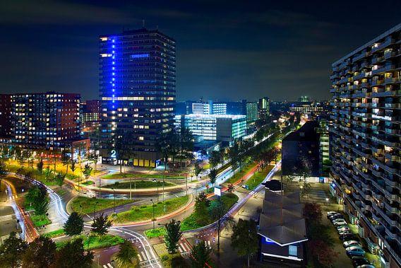 Nacht foto Torenhove, Delflandplein en De Hoven Passage te Delft