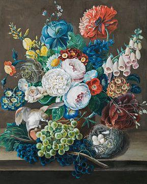 Stilleven met druiven, roodstaart en nest, Leopold Zinnögger