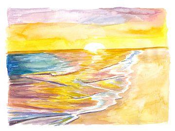 Goldene karibische Sonne beim Baden im Meer