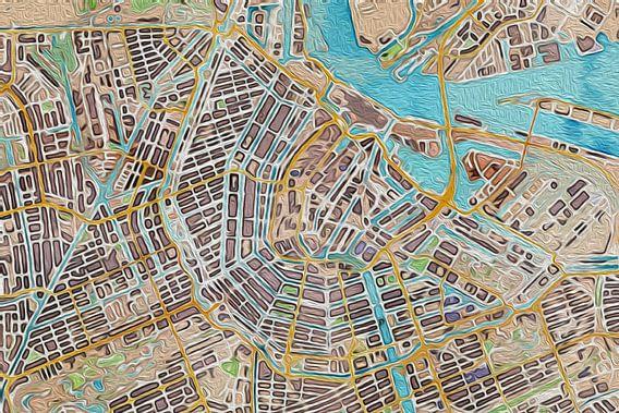 Kaart van Amsterdam olieverf van Stef Verdonk