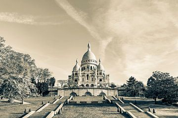 Sacré-Coeur de Montmartre in Paris / Schwarzweiss von Werner Dieterich