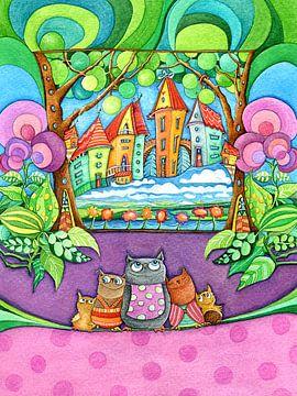 Famille Owl - Mama Owl avec des enfants sur Atelier BuntePunkt