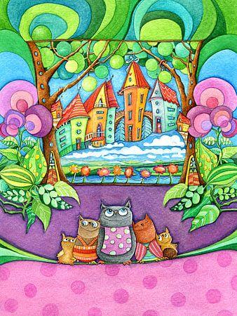 Famille Owl - Mama Owl avec des enfants