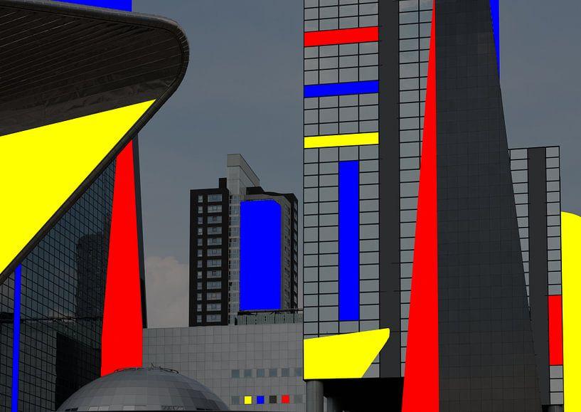 Kleurencompositie over moderne architectuur in Rotterdam von Rob IJsselstein