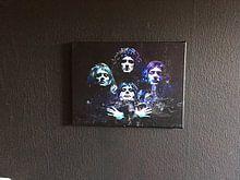 Kundenfoto: Queen Bohemian Rhapsody Abstract in Türkisblau-Violett von Art By Dominic, auf leinwand