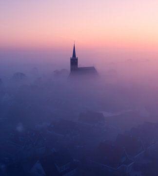 Mistige ochtend bij Schermerhorn 3 van Niels Tichelaar