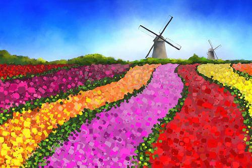 Landschapsschilderij van Nederlandse tulpenvelden met twee windmolens