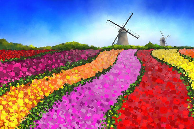 Peinture paysagère de champs de tulipes néerlandais avec deux moulins à vent sur Tanja Udelhofen