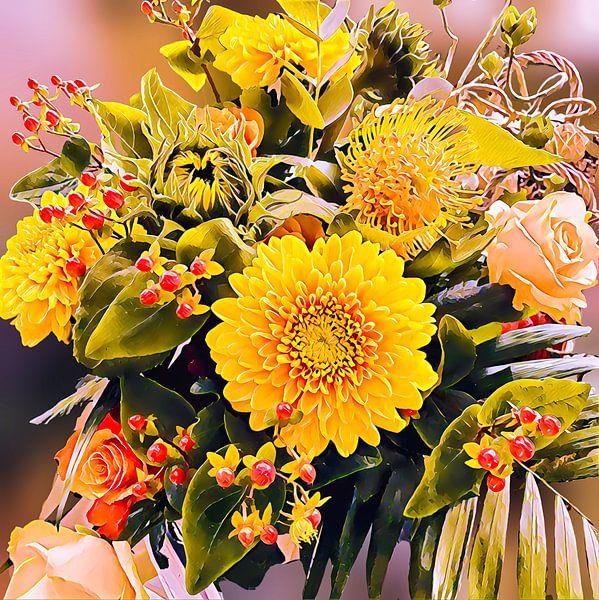 Bouquet de fleurs coloré sur Digital Art Nederland