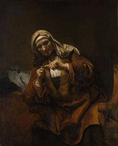 Oude Vrouw snijden haar nagels, de stijl van Rembrandt van Meesterlijcke Meesters