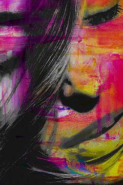 Gezicht van een vrouw in kleur van Art By Dominic