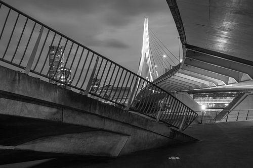 De architectonische Erasmusbrug in Rotterdam in zwart/wit