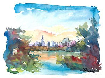 Blick auf die Skyline von New York vom Central Park mit Teich von Markus Bleichner