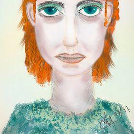 Tekening karikatuur portret van meisje in oranje en groen van Marianne van der Zee