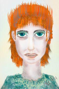 Dessin de portrait fille en orange et vert sur Marianne van der Zee