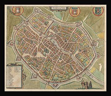 Oude kaart van de stad Doornik van omstreeks 1588. van Gert Hilbink