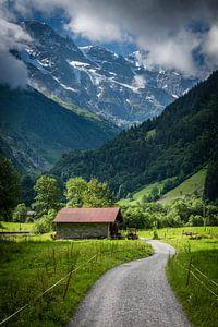 La grange de Stechelberg dans le paysage