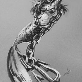 Poster de sirène. Sirène robuste suspendue à une chaîne avec une ancre. Des œuvres d'art en noir et  sur Emiel de Lange