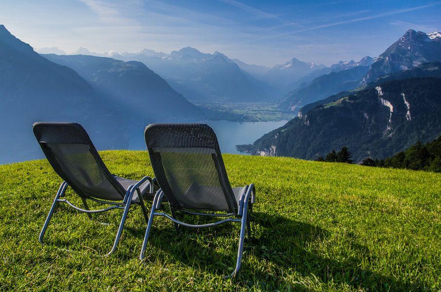"""""""Samen"""" genieten van het uitzicht over het Vierwoudstrekenmeer, Zwitserland."""