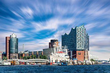 Kehrwiederspitze in de haven van Hamburg Duitsland van Dieter Walther