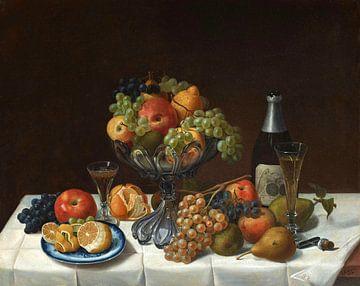 Fruchtstillleben mit Champagnerflasche, Severin Roesen