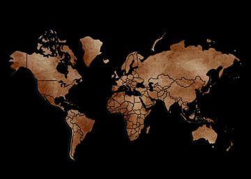 Weltkarte - Schwarz und Erdtöne von Studio Malabar