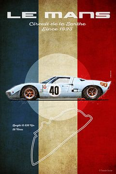 Ford GT40 Gulf in Le Mans van Theodor Decker