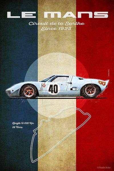 Ford GT40 Gulf in Le Mans von Theodor Decker