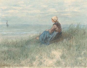 Een vrouw zit op een duin naar zee te kijken van Jozef Israëls, 1834 - 1911