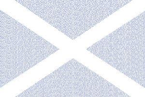 Schotse vlag Saltire Saint Andrew's Cross opgebouwd met Schotse woorden van