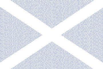 Schottische Flagge Saltire Saint Andrews-Kreuz konstruiert mit schottischen Wörtern von Mike Maes