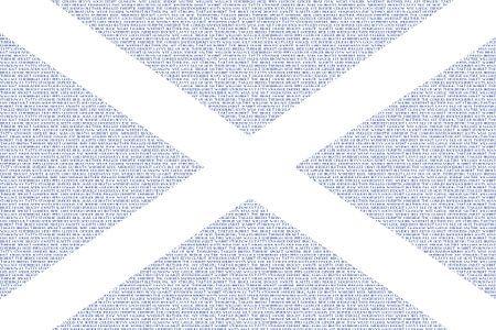 Schotse vlag Saltire Saint Andrew's Cross opgebouwd met Schotse woorden