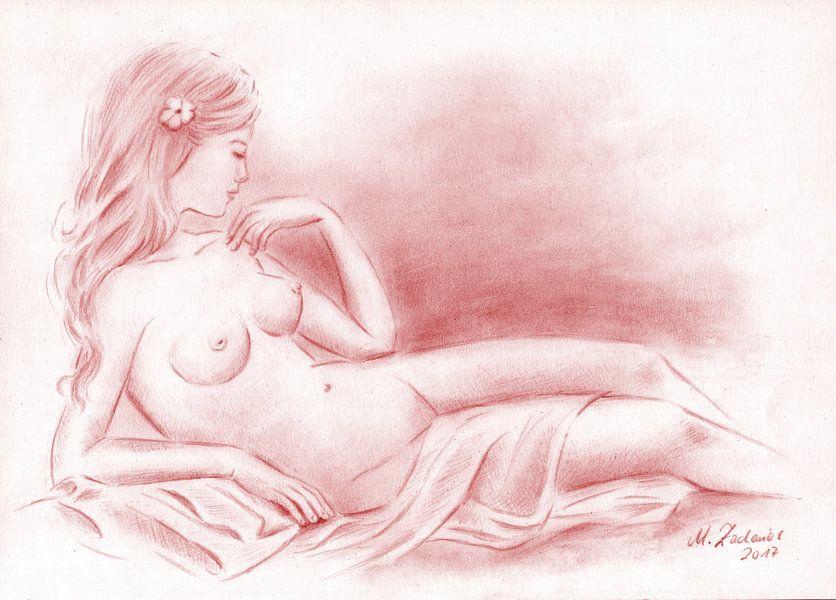 Naakt met een doek - Erotische Tekeningen