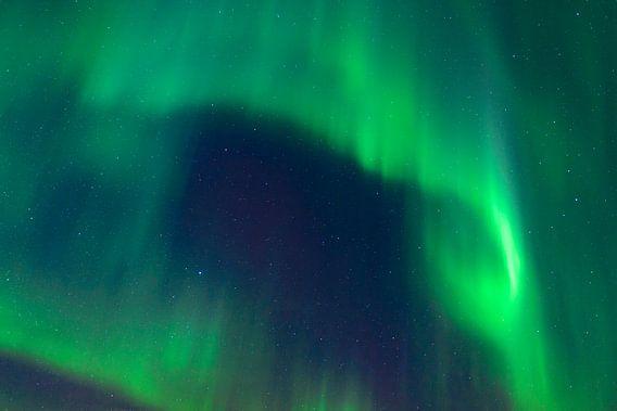 Noorderlicht in de nachtelijke hemel boven de Lofoten, Noorwegen van Sjoerd van der Wal