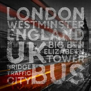 Graphic Art LONDON Verkehr auf der Westminster Bridge