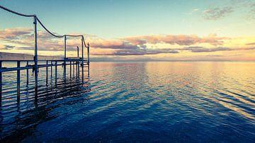 Steiger in het water - in het ochtendlicht van Tony Buijse