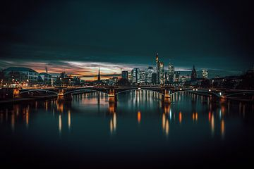 Benzine Skyline Frankfurt, nachtschot van Fotos by Jan Wehnert
