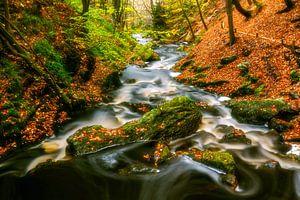 Sfeervolle rivier met rotsblokken