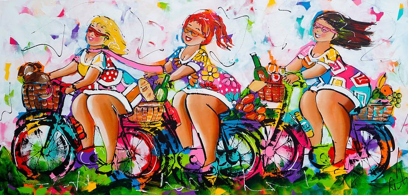 Dames op de fiets II van Vrolijk Schilderij