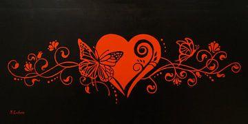 Bloemversiering met hart en vlinder van Marita Zacharias