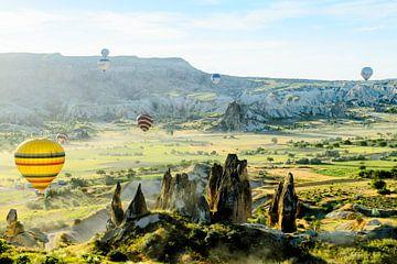 Luchtballonnen en zonovergoten landschap van Tim Wong