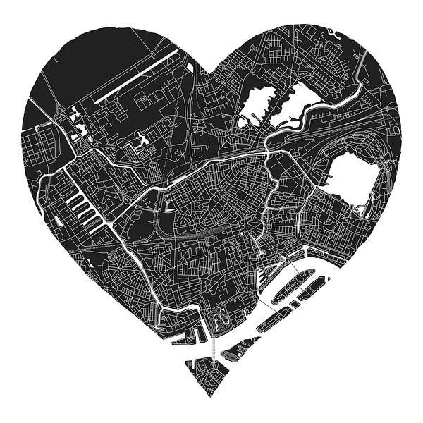 Rotterdam Noord | Stadskaart in een zwart hart van Wereldkaarten.Shop