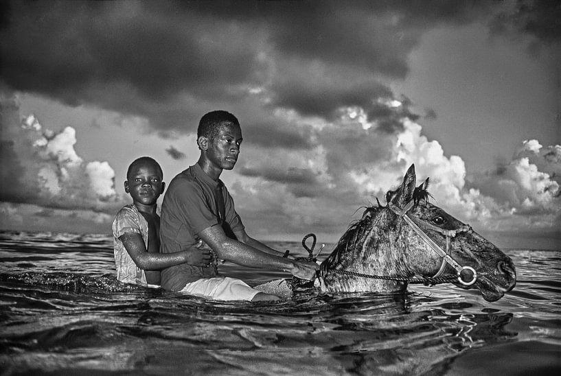 Jungen kühlen ihre Pferde im Meer ab von Frans Lemmens