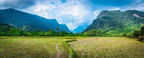 Wandelpad over het platteland van Noord Laos