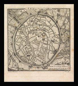 Oude kaart van Mechelen van omstreeks 1775 van Gert Hilbink