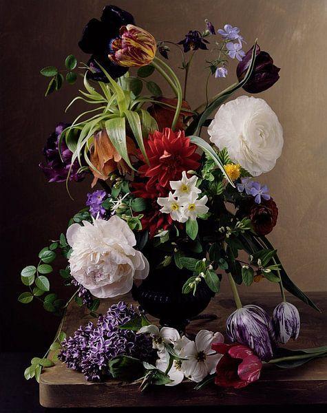 Schilderij van Vaas met Bloemen. van Brian Morgan