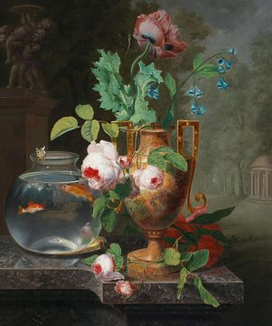 Stillleben mit Blumen in einer Vase und Goldfischglas, Jean Baptiste Berré