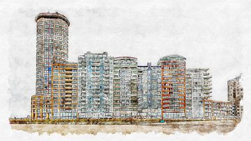 Sardijntoren en appartementen op de Boulevard Bankert in Vlissingen (aquarel) van Art by Jeronimo