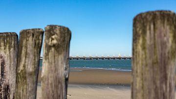 Strandpaaltjes met de Oosterscheldekering van Percy's fotografie
